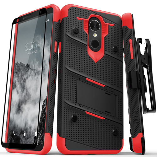LG Stylo 4 Bolt Cover W/Kickstand Black/Red