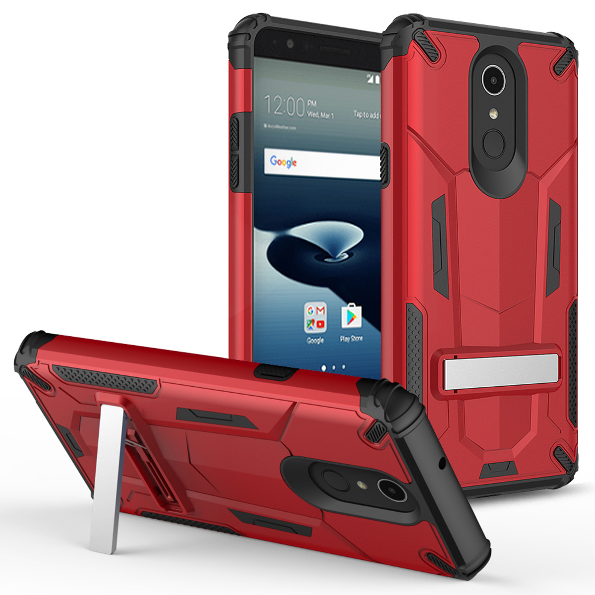 LG Stylo 4 Hybrid Transformer Case W/Kickstand Red